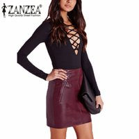 Wholesale Zipper Pencil Skirt - Zanzea Vintage New 2017 Women Soft PU Leather Skirt High Waist Slim Hip Pencil Skirts Zipper Sexy Bodycon Mini Skirt Clubwear