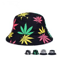 Wholesale Dropshipping Hats - 4 Colors fashion leaf bucket hat womens breathable mesh summer outdoor beach sun hats fishing hat dropshipping