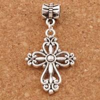 Wholesale Silver Metal Filigree - Filigree Flower Cross Religious Charm Beads 100pcs lot Antique Silver Fit European Bracelets Jewelry DIY B425 20.5x38.7mm