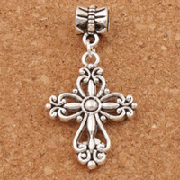 Filigrana Flower Cross Religious Charm Beads 100pcs / lot Antique Silver Fit European Bracelets Jóias DIY B425 20.5x38.7mm