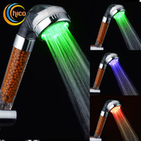 Wholesale Shower Head Unit - LED Anion colorful shower head Temperature Controlled shower nozzle pressurized Handheld spa shower set germicidal filter unit Bathroom part