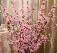 Wholesale Artificial Red Branches - Artificial Cherry Spring Plum Peach Blossom Branch Silk Flower Tree For Wedding Party Decoration white red yellow pink color MYY