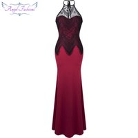 Wholesale Lace Floral Slim Prom Dress - Angel-fashions Women's Halter Floral Lace Slim-fitting Evening Dress Prom Gown Formal Party Occassion Dress Red A-330RD