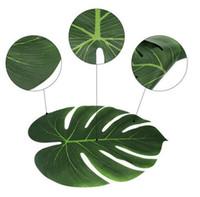 hawaiian partisi için süslemeler toptan satış-Bahçe Sıcak Yapay Yaprak 35x29 cm Tropikal Palmiye Yaprakları Hawaiian Luau Tema Parti Süslemeleri için Simülasyon Yaprak Ev bahçe dekor