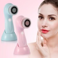 Wholesale deep pore brush - Usb Rechargeable Electric Wash Brush Face Spa Cleaner Rotating Pore Blackhead Acne Remover Deep Cleansing Soft Massager Brushes