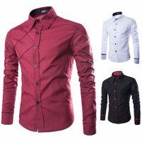 Wholesale Wholesale Plaid Shirts For Men - Wholesale- Hot 2016 New Mens Slim Fit Unique Men Shirts Plaid Casual Long Sleeve Dress Striped Brand Shirt For Clothes M-XXXL Free Shipping
