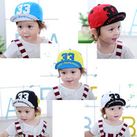 Letters Flat Eaves Baseball Cap sombreros de algodón ajustable 43 ~ 48cm lindo oído 5-15M Baby Boy Girl Kid Toddler Infant Hat al por mayor en stock
