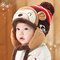 Wholesale Monkey Hat Set Baby - New Winter Lovely Monkey Baby Hats Suit Colorful Knitted Caps And Infinity Set Warm Soft Trapper Hats Scarves 5 Colors