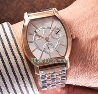 Super Clone Luxury Cheap Malte 47400 Power Reserve Montre automatique automatique à cadran blanc Rose Gold Two Tone Stainless Steel Bracelet Gent Watches