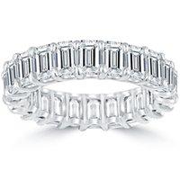 "Wholesale Emerald Cut Diamond White Gold - 7.70 F-VVS1 Emerald Cut Diamond Eternity Band ""U"" Shape Platinum Setting"