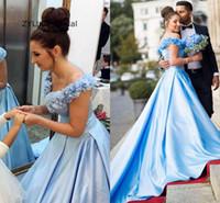 Wholesale Light Blue Discount Graduation Dresses - Discount V Neck Applique Sky Blue Long Prom Dresses 2017 Satin Cheap Evening Gowns Sexy Formal Dress Party Graduation Gown Custom Made