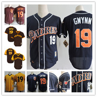 Wholesale Throwback Baseball Jerseys S - Mens San Diego Padres Tony Gwynn Navy Gold Cooperstown Mesh Batting Practice Jersey #19 Tony Gwynn Padres Throwback baseball Jersey S-3XL