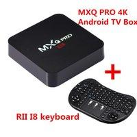 Wholesale Android Tv Box Skype - Android 6.0 TV Box MXQ Pro 4K Rockchip RK3229 Quad Core Fully Loaded Smart TV Box with Wireless Keyboard rii mini i8 remote control
