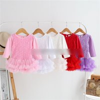 Wholesale Infant Size Flower Girl Dresses - Baby girls dresses toddler kids long sleeve Rose flowers tulle dress Infants multilayers TUTU dress kids jumpsuits girls clothing G0469
