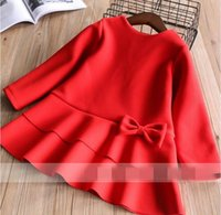 Wholesale Woollen Long Dress - Winter New Year Baby Girls Dresses Bow red woollen cloth long sleeve Dress Children Clothing 2-7T 319980