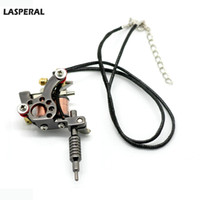 "Wholesale Wholesale Tattoo Gun Pendants - Wholesale-LASPERAL Women & Men Tattoo Necklace Jewelry Gun Gunmetal Mini Tattoo Machine Necklace Steampunk Leather Necklace 45cm(17-3 4"")"