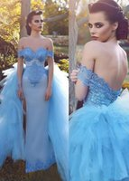 Wholesale Black Skirt Cover Up - Fantastic 2017 2 In 1 Evening Dresses With Sleeves Off-the-shoulder Lace-up Back Detachable Skirt Lace Appliques Evening Gowns Prom Dresses