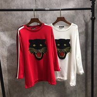 red leopard sleeve shirt Canada - autumn 2017 famous brand embroidery leopard head women hoodies long sleeve loose lady round neck T-shirt