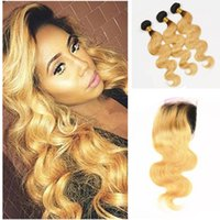 Wholesale honey blonde two tone hair weave for sale - Group buy Dark Roots Honey Blonde Lace Closure With Bundles Two Tone Ombre Human Body Wave Hair Weave With Lace Closure Baby Hair Around