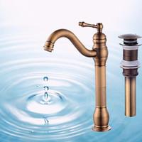 Wholesale Traditional Brass Bathroom Faucets - Traditional Free Shipping Antique Brass Bathroom Sink Faucet Single Handle Mixer Tap Countertop Vessel Mixer Tap