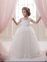 Wholesale gold tribute for sale - Communion Romance Solid Applique Lace Satin Tribute Silk Soft Tulle Ball Gown Half Sleeve Communion Dresses Year Old Girls