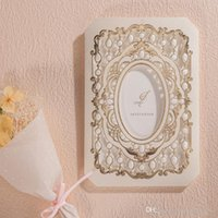 Wholesale Invitation For Engagement - Luxury Laser Cut Wedding Invitations Cards with Gold Flora 2D Design CW6035 Engagement for Bridal Shower Birthday Party Favors
