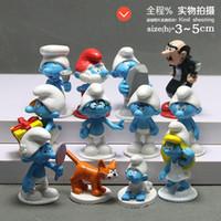 regalo de los pitufos al por mayor-12 unids / set Mini Anime Cartoon The Smurfs PVC Figuras de Acción Juguetes Muñecas LES SCHTROUMPFS Juguetes para Niños Regalos