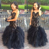 Wholesale Long Blue Puffy Prom Dresses - 2017 New Black Applique Prom Dresses Mermaid Long Evening Party Gowns Puffy Tulle Tiered Graduation Dresses African Women Formal Dress