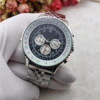 Wholesale Working Chronograph - Chronograph 3 Eyes Work Quartz watch Top Brand Luxury Mens Watches Stainless Steel & Leather Quartz Wristwatches Relogie Reloj Zeland Watch