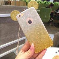 Wholesale Gel Mate - Bling Glitter Gradient Mickey Minnie Ear Soft TPU Gel Case For iPhone 5 SE 6 6S Plus Samsung Galaxy S7 Edge Huawei Mate 7 8 P9 Mate8 US1