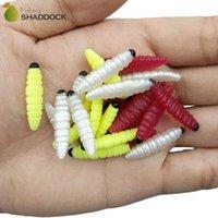 señuelos grub worm al por mayor-100 unids Suave Plástico Gusano De Seda Señuelos de Pesca De Goma Olor Suave Gusanos Artificiales Grub Bait Accesorios de Pesca Ataques
