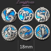 Wholesale Metal Ocean - High quality flower ocean W234 18mm 20mm rhinestone metal button for snap button Bracelet Necklace Jewelry For Women Silver jewelry