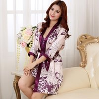 Wholesale Hot Nightwear For Women - Wholesale- Brand New Long Robe Satin Rayon Bathrobe For Women Kimono Sleepwear Plus Size M-XXL Nightwear Bridesmaid Bathrobes Hot
