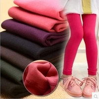 Wholesale Wholesale Thicken Leggings - 13colors Kids Girl's Autumn Winter Velvet Polar Fleece Lined Thicken Warm Leggings Tights
