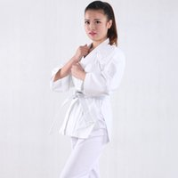 Wholesale Brand New cotton Taekwondo uniforms adult children Taekwondo clothing Taekwondo clothes white color long sleeves fashion