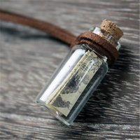 Wholesale Middle Earth - 12pcs lot HP Marauder's Map Necklace Middle Earth Narnia Pirates Map Map in a Bottle Necklace
