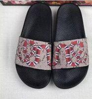 karışık lastik toptan satış-Ace Ayakkabı Kadınlar Lüks tasarımcı sandalet 20 mix modelleri ile momen kadın terlik kutusu çiçek kaplanlar yılan baskı kauçuk deri boyutu 36-45