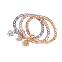 Wholesale Little Girls Bracelets - Silver Gold Rose Gold Three Colors Bracelet With Little Crown Pendent For Women And Girls By Hcish Jewelry FSH283