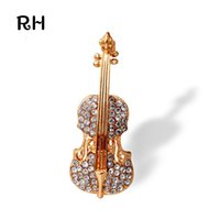 Wholesale Violin Top - Wholesale- Top Sale Women Crystal Music Violin Brooches for suit collar jewelry Gold Plated Brooches for men broches mujer Christmas Gift