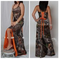 Wholesale Vestidos Color Melon - Halter Camo Orange Bridesmaid Dress Split Sweep Train Lace Up Back Custom Cheap Slim Vestidos De Bridesmaids Dress 2017 Cheap Honor Of Maid