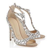 Wholesale Crystal Diamond Wedding Heels - 2017 Luxury Diamond Wedding Shoes Jeweled Heel Gladiator Sandals Women Rhinestone Crystal Embellished T Strap Summer Party Shoes