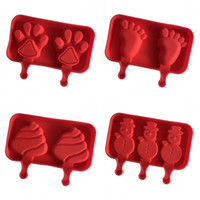 Wholesale Dog Mold Mould - Silicone Ice Cream Mold Makers Red Silica Gel Mould Baby Dog Small Feet Homemade Popsicle Sticks Tools Snowman Torch Shape 8 5xw R