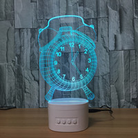 3D Clock LED Illusion Lâmpada Bluetooth Speaker com 5 luzes RGB TF Card Slot DC 5V USB de carregamento Atacado Dropshipping
