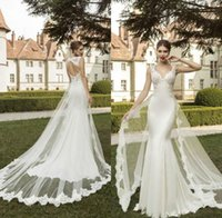 Wholesale Bridal Gown Silk - 2016 Hot Sell Sexy Wedding Dresses Wonderful Lace Applique Deep V Neck Ivory Mermaid Open Back Country Bridal Gowns with Detachable Train