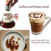Wholesale Creating Flowers - 16 Pattern Templates Coffee Pull Flower Mold Very Simple DIY Tool You Can Create Your Own Coffee Art.