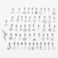 Wholesale Mixed Large Hole Beads - Mixed with 50 different styles of large hole charm tibetan silver big hole bead charm pendants fits European bracelets jewelry making M002