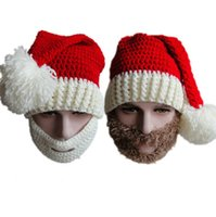 Wholesale Santa Hat Beanie - Crochet Hat Beard Set Christmas Hat 100% Handmade Santa Cap Beard Mask Set Wool Knit Hat Fashion Accessories