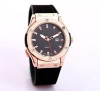 Wholesale silicone belts - Fashion Simple classic design calendar quartz men's Watches leather interlayer Silica gel Watch strap Fashion man Watches