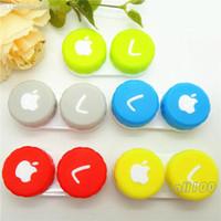 visión de las manzanas al por mayor-Venta al por mayor-10 piezas Caja de lentes de contacto Caja de contenedor de impresión de Apple Cuidado de ojos Visión Color caramelo
