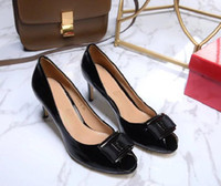 Wholesale Butterfly Mouth - New arrivals F Vara Luo satin bowtie High heels sandals Patent leather Fish mouth High heels Woman's Butterfly knot High-heeled shoes 35-41